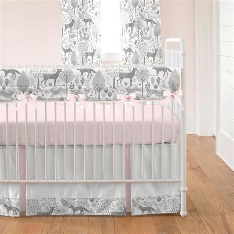 woodland animals baby bedding pink and gray woodland crib bedding carousel designs