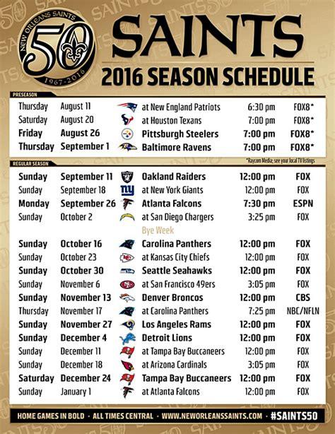 printable lsu schedule 2015 2016 new orleans saints schedule