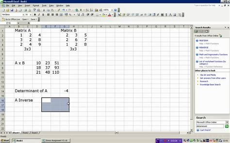 matrix multiplication and inverse in excel youtube