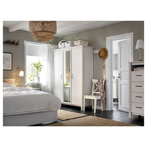 ikea bedroom furniture wardrobes brusali wardrobe with 3 doors white 131x190 cm ikea