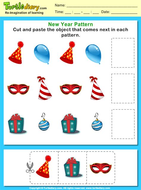 pattern worksheet cut and paste cut and paste the pattern that comes next worksheet