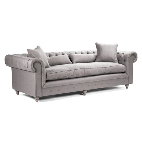 Alaine English Rolled Arm Grey Linen Chesterfield Sofa Linen Chesterfield Sofa