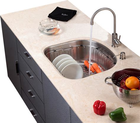 kraus stainless steel rinse basket modern kitchen sink