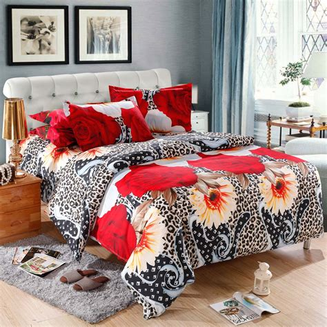 Leopard Flower Pattern 4pcs 3d Printed Bedding Set Flower Bed Set