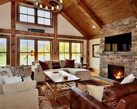 Rustic Livingroom Awesome Brick Wall Fireplace In Rustic Living Room