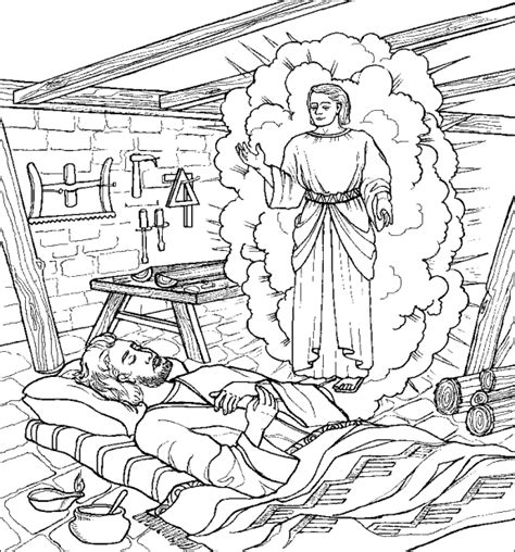 matt 1 angel appears to joseph advent coloring book