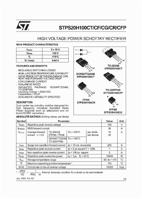 silicon diode cutoff voltage stps20h100cr 181768 pdf datasheet ic on line