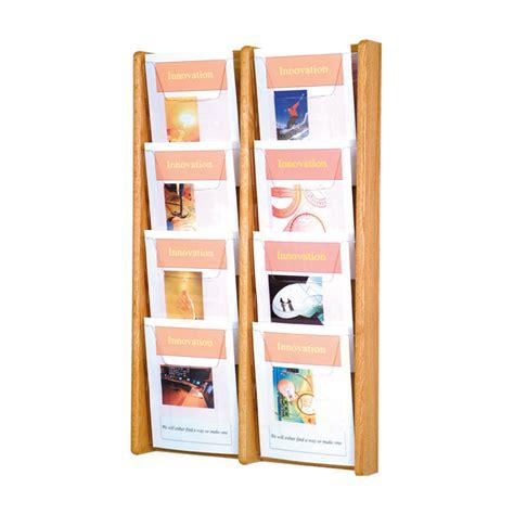 Literature Rack Wall Mount by 8 Pocket Wall Mount Oak Literature Rack