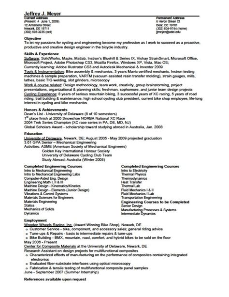 Resume Sles For Design Engineers Mechanical Resume For Mechanical Design Engineer