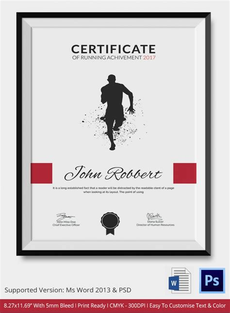 run certificate template 5 running certificates psd word designs design
