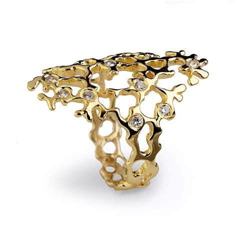 italian jewelry sea spray sleek ring gold statement ring 14k