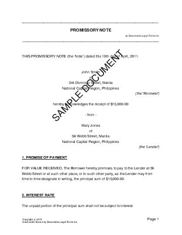 Letter Of Agreement Philippines Promissory Note Sle Real Estate Forms