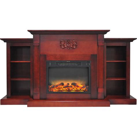 fireplace display hanover classic 72 in electric fireplace in cherry with