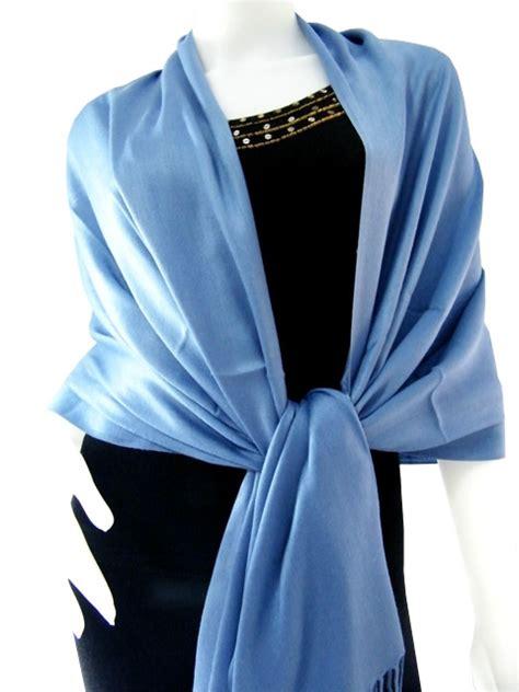 Pasmina Satin Silk Silky Blue solid pashmina shawls steelblue solid pashmina shawl