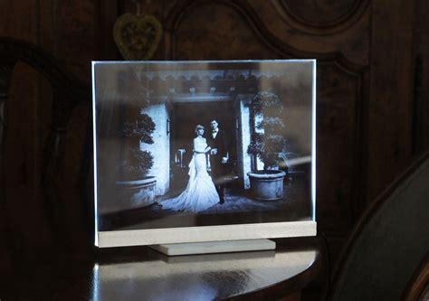 led light window display custom wedding portrait etched glass night light led