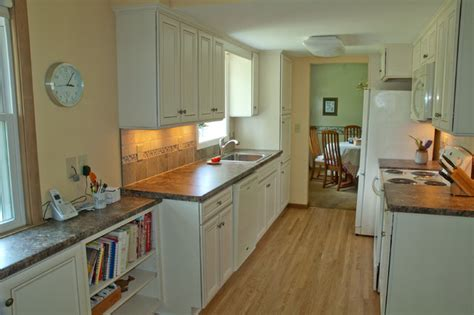 French Country Kitchen Design economical solution to galley kitchen update traditional