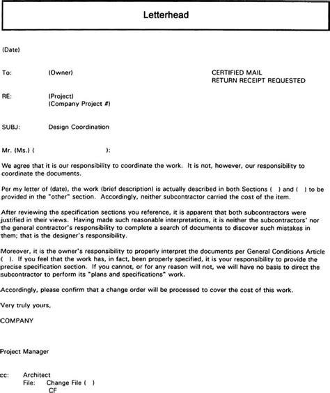 letter to owner 3 9 4 sle letter to owner regarding lack of design coordination page 3 83