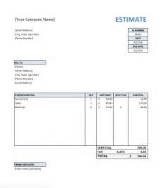 Estimate Template Free by Free Estimate Template For Contractors