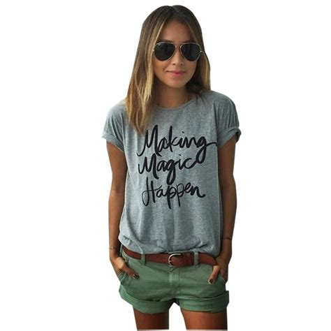 Kasual Tshirt magic happen print letter tops casual shirt