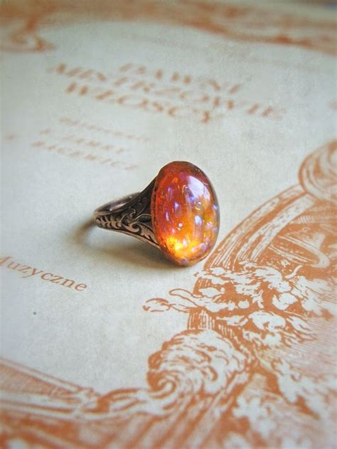 mexican fire opal cocktail ring desert dream vintage mexican fire opal