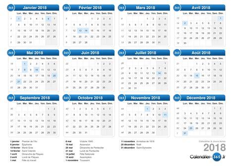 Calendrier 365 Fr 2018 Calendrier 2018
