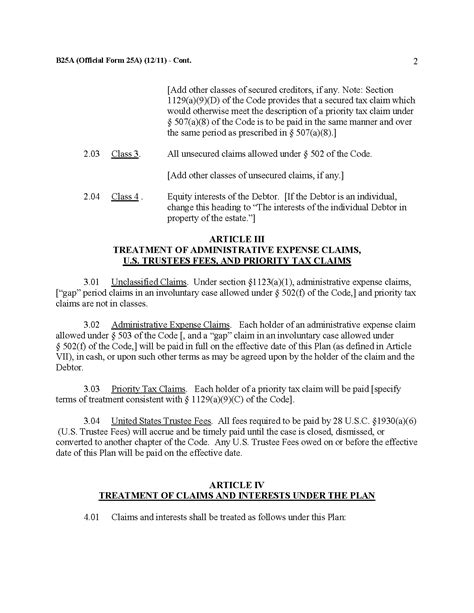bankruptcy code section 502 form b 25a plan of reorganization in small business case
