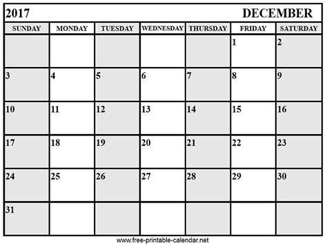 Calendar 2017 December Calendar December 2017 Print Calendars From