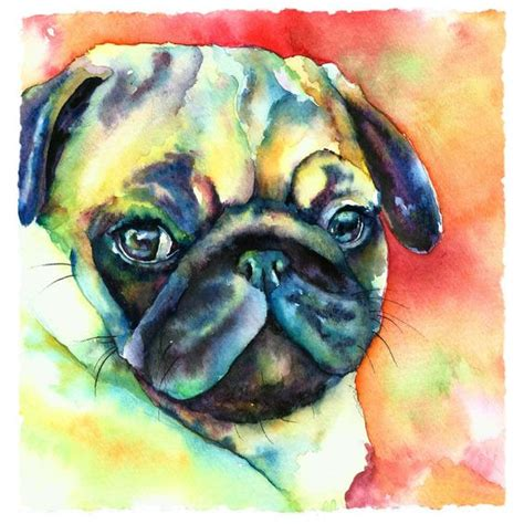 pug paintings for sale pug watercolors canvas prints and canvases
