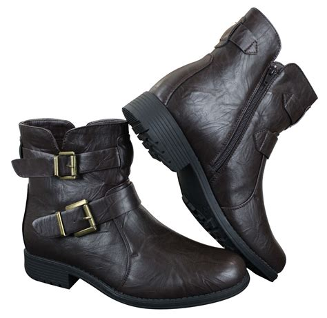 mens buckle biker boots mens ankle boots black brown buckle belt zip biker rock