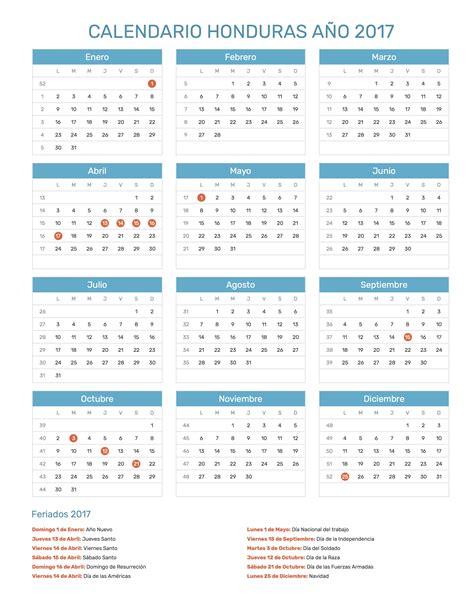 Calendario Honduras 2017 Calendario Honduras A 241 O 2017 Feriados