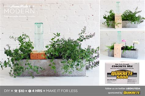 How To Make A Self Watering Planter by Modern Ep49 Self Watering Concrete Planter