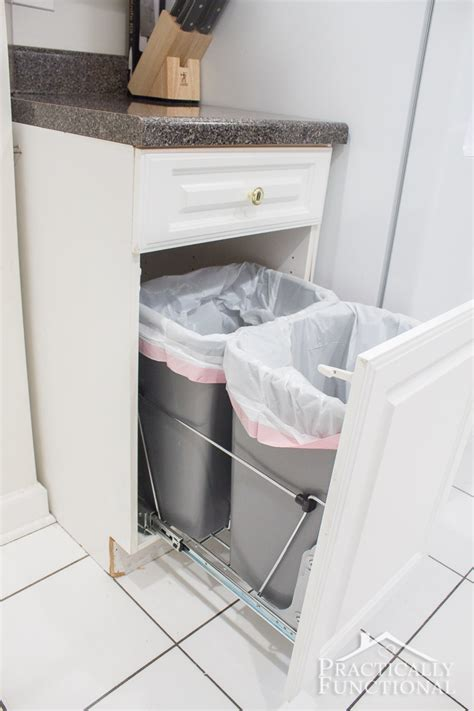 diy trash can cabinet diy pull out trash cans in under an hour