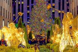 Duvet New York Rockefeller Center Christmas Tree And Angels Photograph By