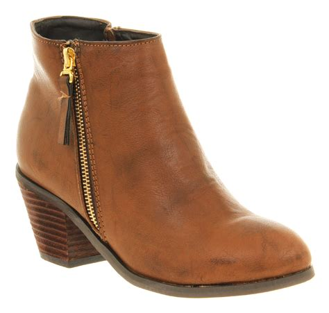 womens office zip cognac brown patent low