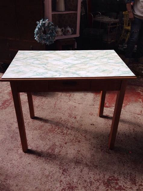 vintage retro small wooden kitchen table marble effect