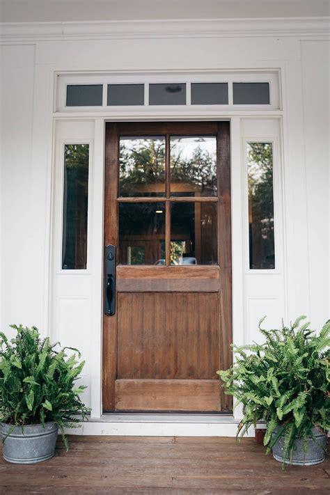 farmhouse front door idea design  solid wood entry