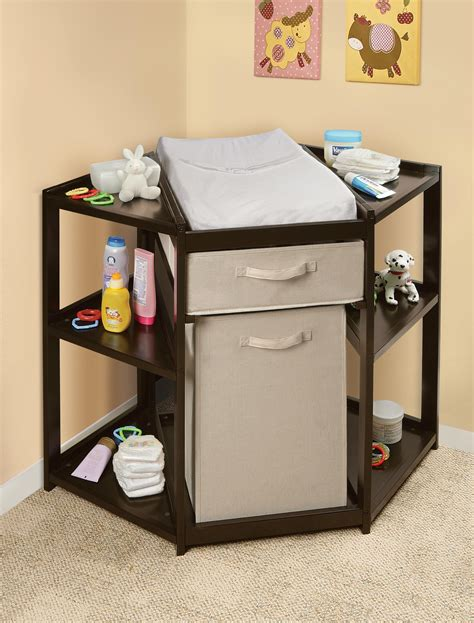 Espresso Diaper Corner Changing Table With Her And Buy Baby Change Table