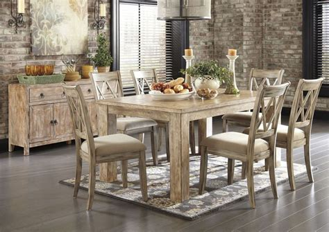 convertibles dining room sets convertibles mestler washed brown rectangular dining table w 6 antique white chairs