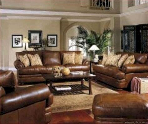 stunning brown leather living room furniture ideas