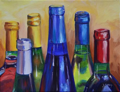 Wine Bottle Home Decor Primarily Wine Painting By Donna Tuten