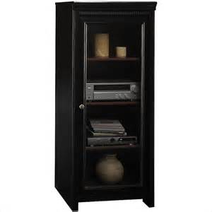 bush stanford audio cabinet with tempered glass door