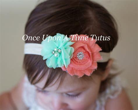 chagne ivory shabby flower headband coral aqua mint green flower ivory headband shabby chiffon