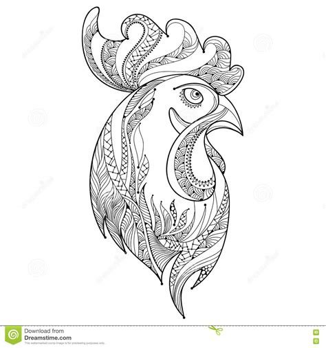 rooster head coloring page vector outline rooster or head profile in black on white