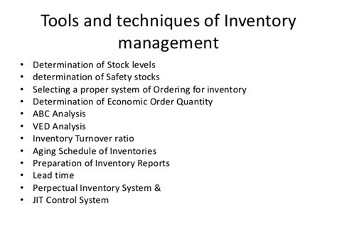 Tools And Techniques Of Inventory Management Mba inventory management m 2 sem