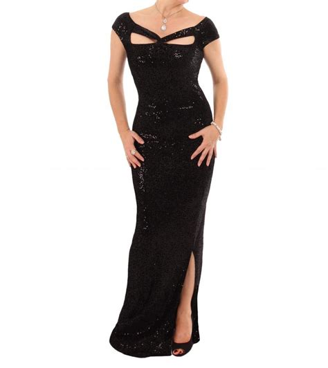 Melour Maxy black sequin velour cut out maxi dress