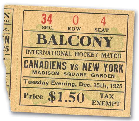Tickets Square Garden by 1st Hockey At Square Garden Ticket Stub