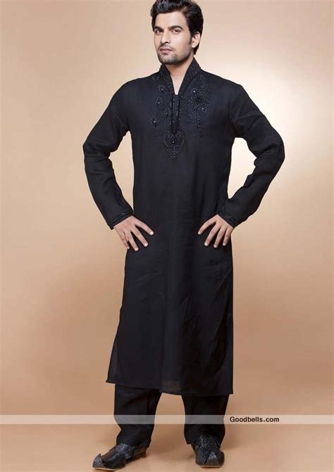 pakistan fashion men s kurta and salwar kameez designs kurta pajama r30p44 elegant black high neck kurta pajama