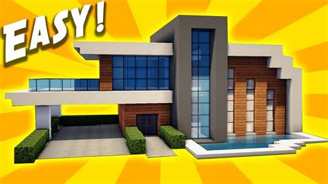 easy house in minecraft minecraft easy modern house tutorial how to build a house youtube