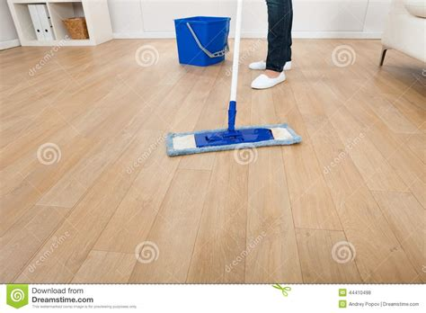 Mopping Wood Floors by Mopping Hardwood Floor At Home Stock Photo Image