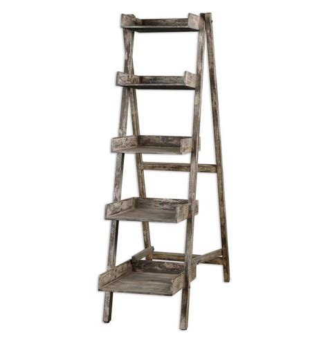 Cottage Chic Weathered Wood Distressed Ladder Shelves Wood Ladder Bookcase